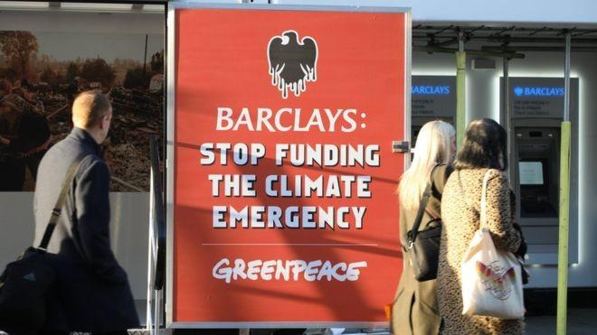 Climate change: Greenpeace stops Barclays from opening branches